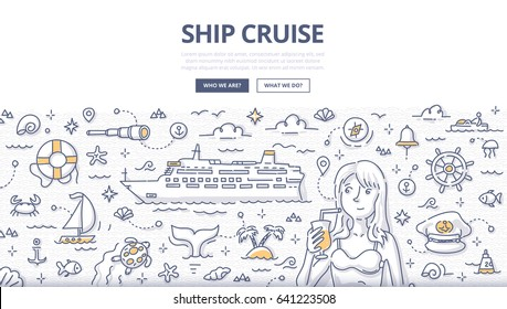 Doodle vector illustration of ship cruise, voyage vacation, summertime adventure. Concept of traveling by sea for web banners, hero images, printed materials