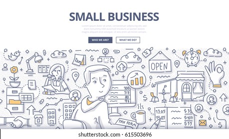 Doodle vector illustration of small business owner counting revenue, filling tax form, making order to supplier. Concept of small business for web banners, hero images, printed materials