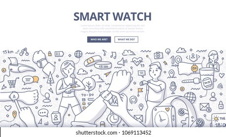 Doodle vector illustration of smartwatch technology. Concept of using smart watch in everyday life for web banners, hero images, printed materials