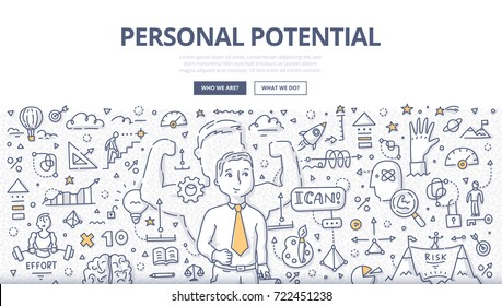 Doodle vector illustration of successful man developing and using personal gifts, talents, natural abilities. Concept of discovering personal potential for web banners, hero images, printed materials