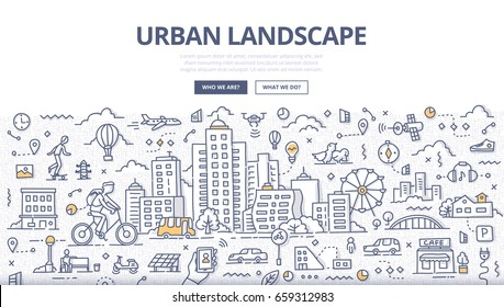 Doodle vector illustration of urban landscape. Cityscape with various elements of urban lifestyle for web banners, hero images, printed materials