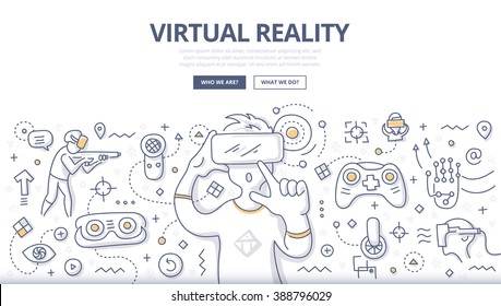 Doodle vector illustration of using computer technology simulate real environment for training, education and gaming. Concept of virtual reality for web banners, hero images, printed materials