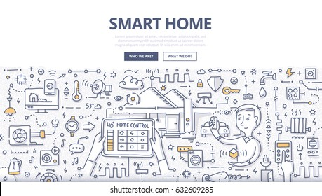 Doodle vector illustration of using modern technologies into house infrastructure, home remote control & automation. Smart home concept for web banners, hero images, printed materials