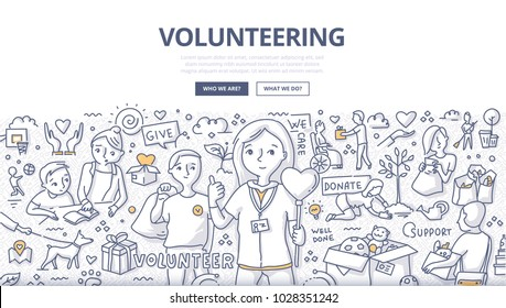 Doodle vector illustration of a volunteers, doing altruistic social activity. Volunteering concept for web banners, hero images, printed materials
