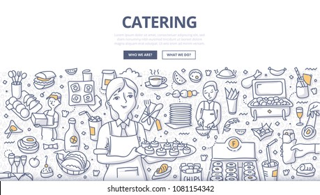 Doodle vector illustration of waitress on some festive event. Restaurant or private caterer. Concept of catering for web banners, hero images, printed materials