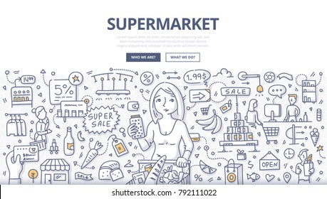 Doodle vector illustration of a woman choosing household products in grocery store . Concept of shopping in supermarket for web banners, hero images, printed materials