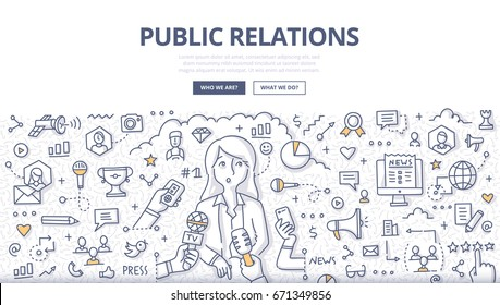 Doodle vector illustration of a woman public speaker giving interview. Public relations concept of managing information between organization and public for web banners, hero images, printed materials