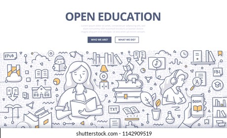 Doodle vector illustration of a woman reading book. Get education by reading paper, electronic and audio books. Open education concept for web banners, hero images, printed materials