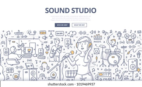 Doodle vector illustration of a woman singer and musicians in audio recording studio. Sound recording industry concept for web banners, hero images, printed materials
