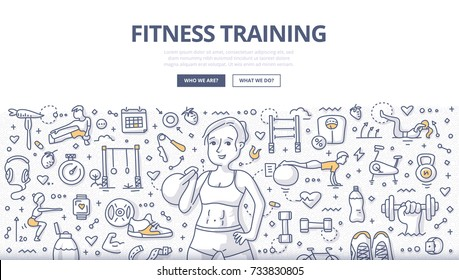 Doodle vector illustration of a woman training with kettlebell. Workout and fitness concept for web banners, hero images, printed materials