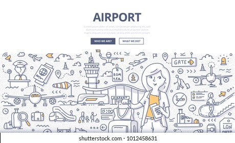 Doodle vector illustration of a woman traveler landing on the flight. Airport travel concept for web banners, hero images, printed materials