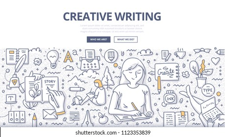 Doodle vector illustration of a woman writing down ideas to notebook. Creative writing concept for web banners, hero images, printed materials