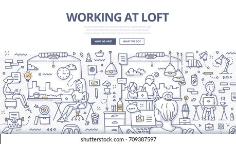 Doodle vector illustration of working at loft office, shared working environment. Concept of co-working space for web banners, hero images, printed materials