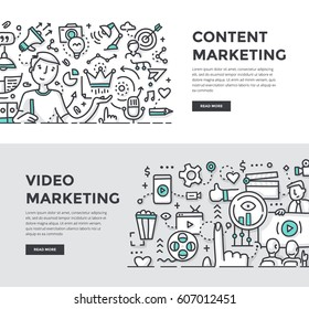 Doodle vector illustrations of creating, managing & distributing quality content. Digital marketing concepts for web banners, hero images, printed materials