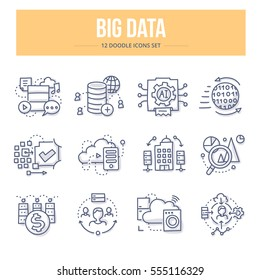 Doodle vector line icons of big data technology, processing information, analyzing statistics