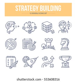 Doodle vector line icons of building strategy, defining business goals, find way to solve problems