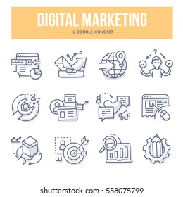 Doodle vector line icons of digital marketing, seo, social media, market analysis, increasing sales, creating content and new product management