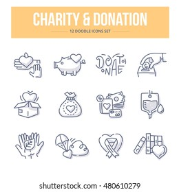 Doodle vector line icons set of charity, giving help and donating money