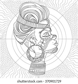 Doodle Vector Monochrome Decorative afro woman profile with Beautiful Pattern hair. Coloring book anti stress for adult and older children. Coloring page with vintage ornament.