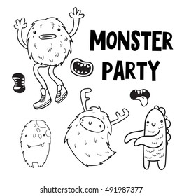 Doodle vector monster party set. Halloween characters. Cute animals