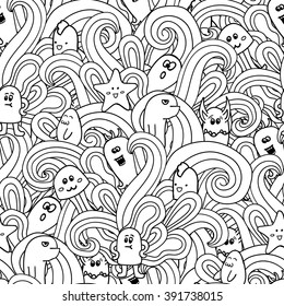Doodle vector seamless pattern with monsters. Funny monsters graffiti. can be used for backgrounds, t-shirts