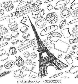 Doodle vector seamless pattern.Doodle vector.French Bakery,bread and pastries ornament with Eiffel tower.Vintage elements for  cafe shop.