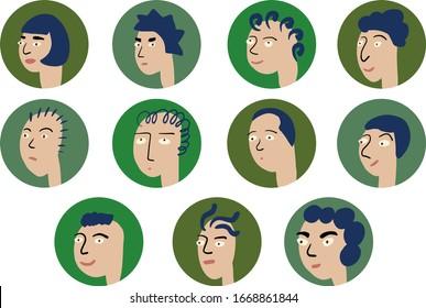 Doodle vector set. 9 different Cartoon funny faces.