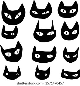Doodle vector set of funny black cat faces isolated on white background for your design