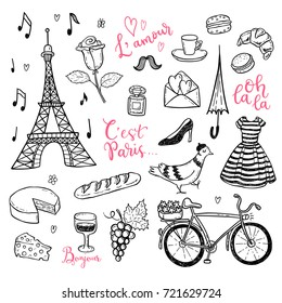 Doodle vector set with hand drawn Paris, France symbols.