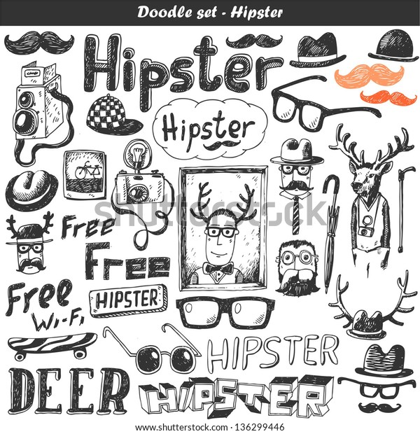 Doodle Vector Set Hipster Stock Vector (Royalty Free) 136299446