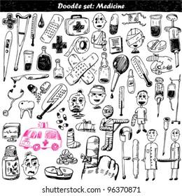 doodle vector set : medical element