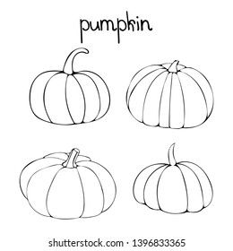Doodle vector set with pumpkins. Four linear drawing of gourd.