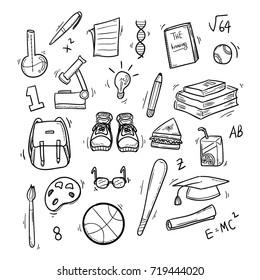 Doodle Vector Set of School Things