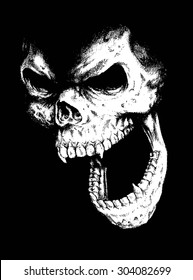 doodle vector skull face