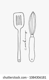 Doodle vector spatula and whisk line art. Hand drawn utensils on the white background. Kitchen design