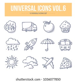 Doodle vector universal generic icons for website and printing materials. Include weather, food and transportation icons