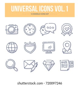 Doodle vector universal generic icons for website and printing materials. Vol. 1
