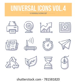 Doodle vector universal generic icons for website and printing materials vol.4