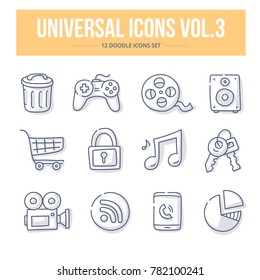 Doodle vector universal generic icons for website and printing materials