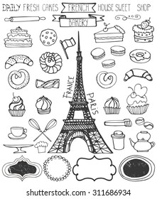 Doodle vector.French Bakery,Cakes and dessert,pastries  icons set and Eiffeltower.Linear vintage elements for logo,label,menu,cafe shop. Flat hand drawn isolated items.Sweet collection