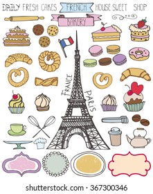 Doodle vector.French Bakery,Cakes and dessert,pastries  icons set and Eifel tower.Colored vintage elements for logo,label,menu,cafe shop. Flat hand drawn isolated items.Sweet collection