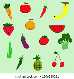 doodle Veggies and fruits simple style