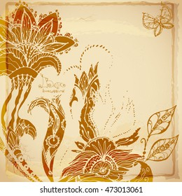 Doodle vintage beautiful batik background of exotic flowers