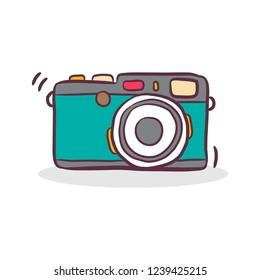 doodle vintage camera, retro vector