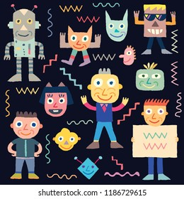 Doodle Wacky Funny Characters 1. Vector Illustration Black Background.