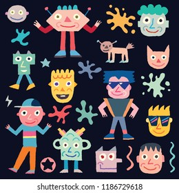 Doodle Wacky Funny Characters 2. Vector Illustration Black Background.