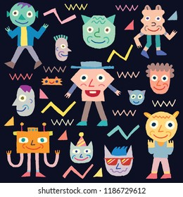Doodle Wacky Funny Characters 4. Vector Illustration Black Background.