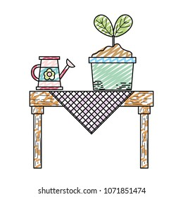 doodle watering cand and plant in the dining table