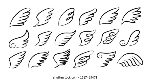 Doodle wings. Cartoon bird feather wings, religious angel wings ink sketch, black tattoo silhouette. Vector hand drawn