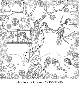 Doodle winter drawing. Art therapy coloring page.